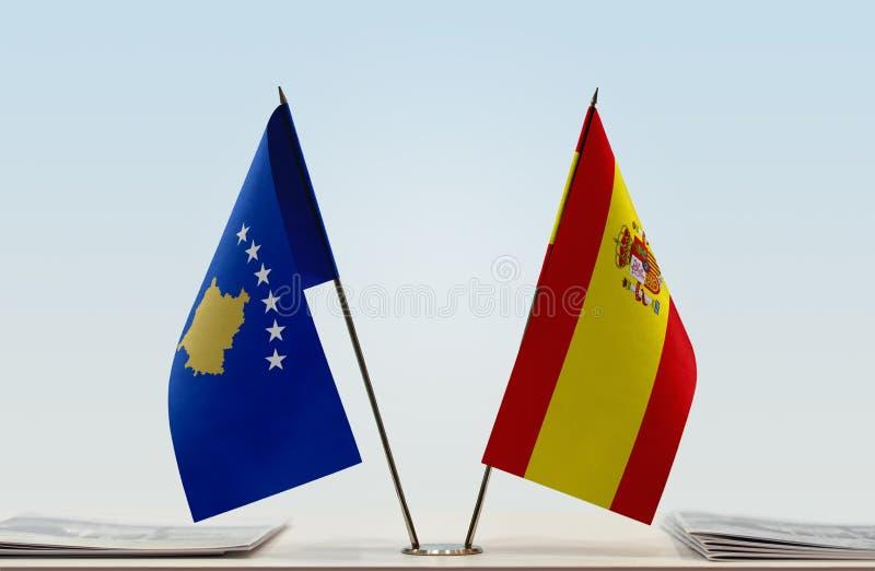 Flaga Kosowo i Hiszpania obraz royalty free