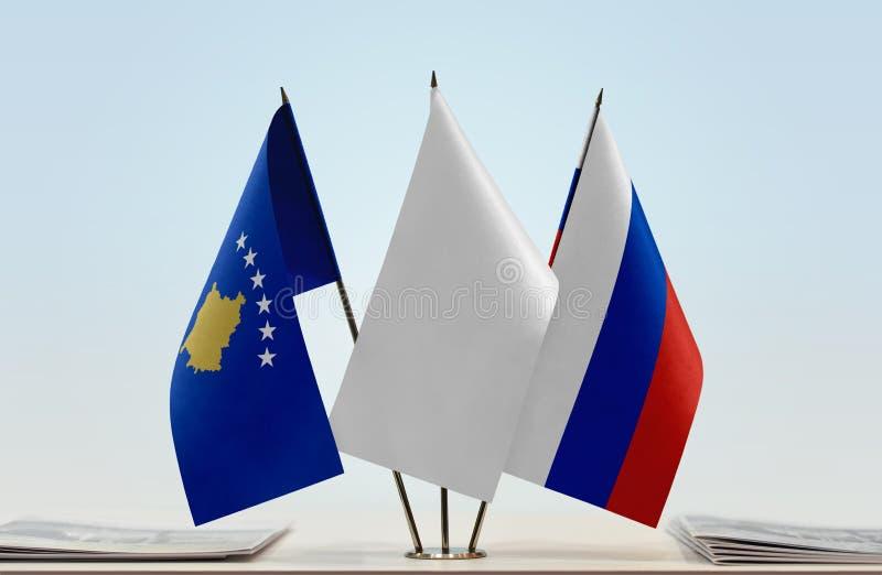 Flaga Kosowo i Rosja fotografia royalty free