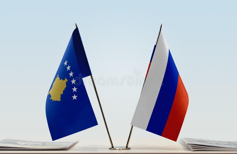 Flaga Kosowo i Rosja zdjęcia royalty free
