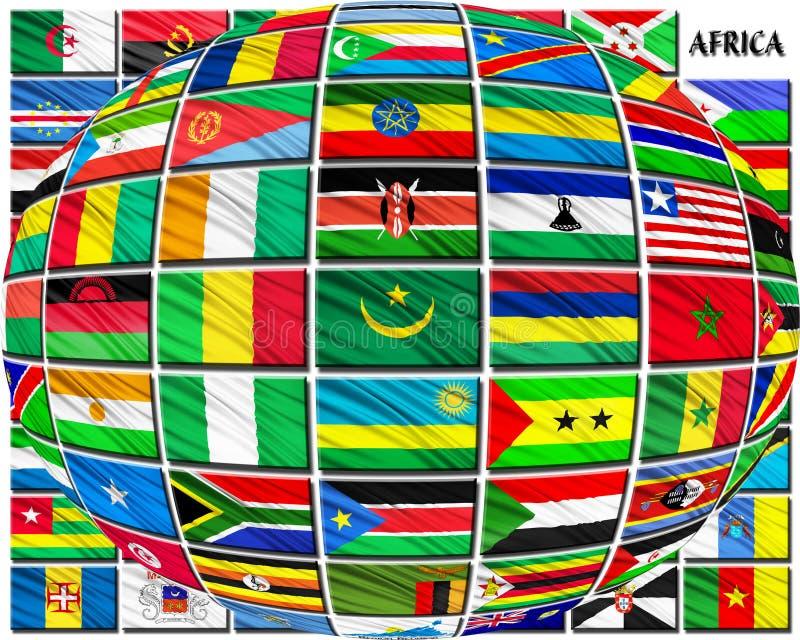 Flaga kraje afrykańscy w abecadłowym rozkazie royalty ilustracja