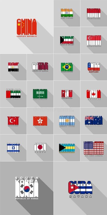 Flaga kraje Ameryki, Azja, Australia, płaski projekt listy ilustracji