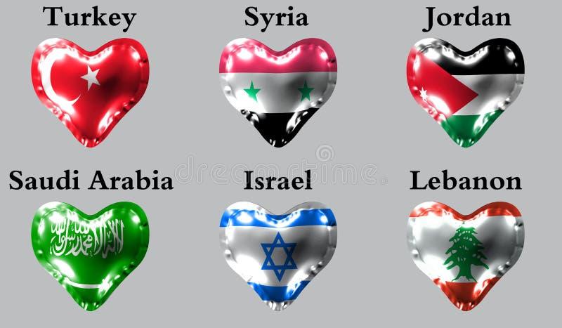 Flaga kraje azjatyccy Flaga Turcja, Syria, Jordania, Arabia Saudyjska, Izrael, Liban na lotniczej piłce w postaci on royalty ilustracja