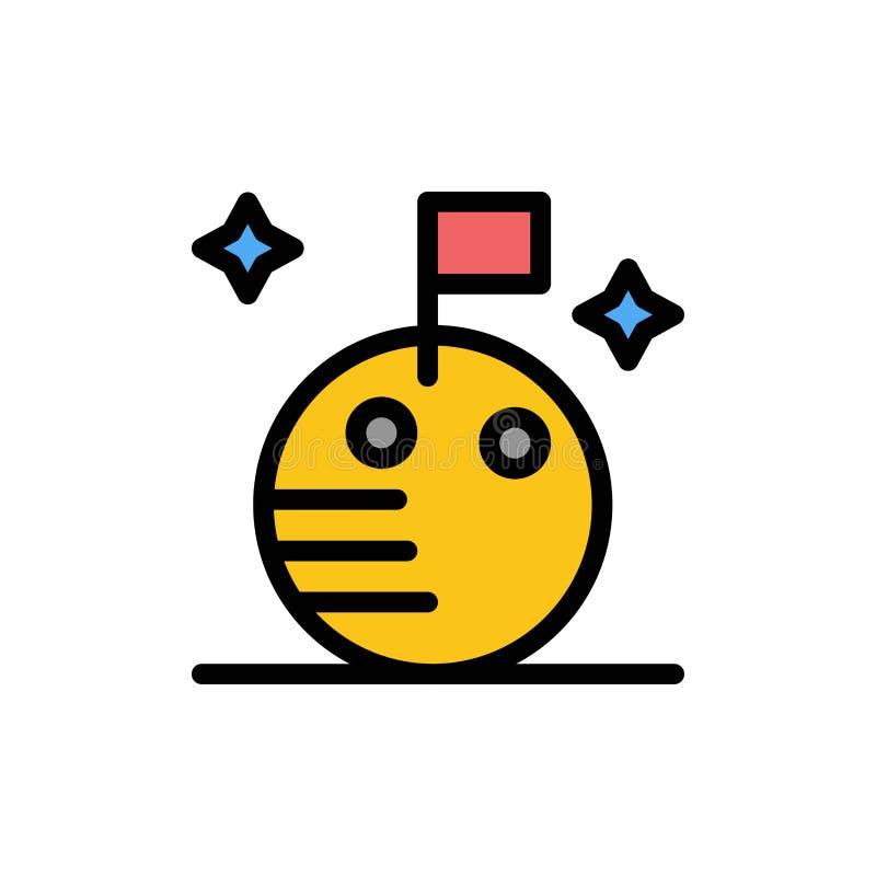 Flaga, księżyc, Astronautyczna Płaska kolor ikona Wektorowy ikona sztandaru szablon ilustracja wektor
