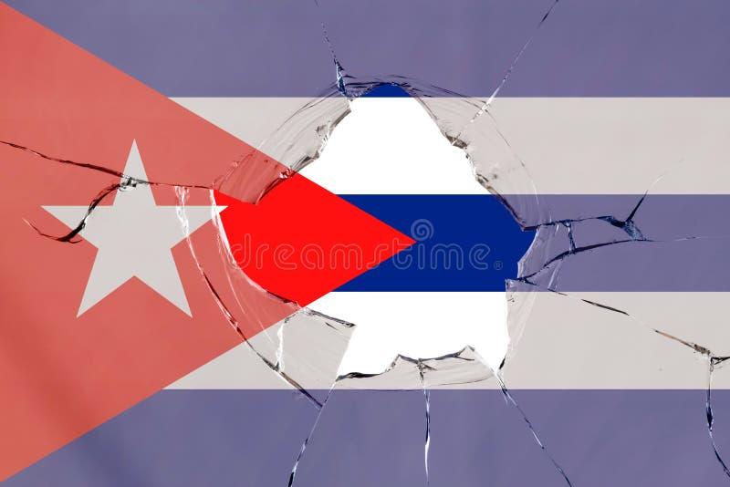 Flaga Kuba na szkle ilustracja wektor