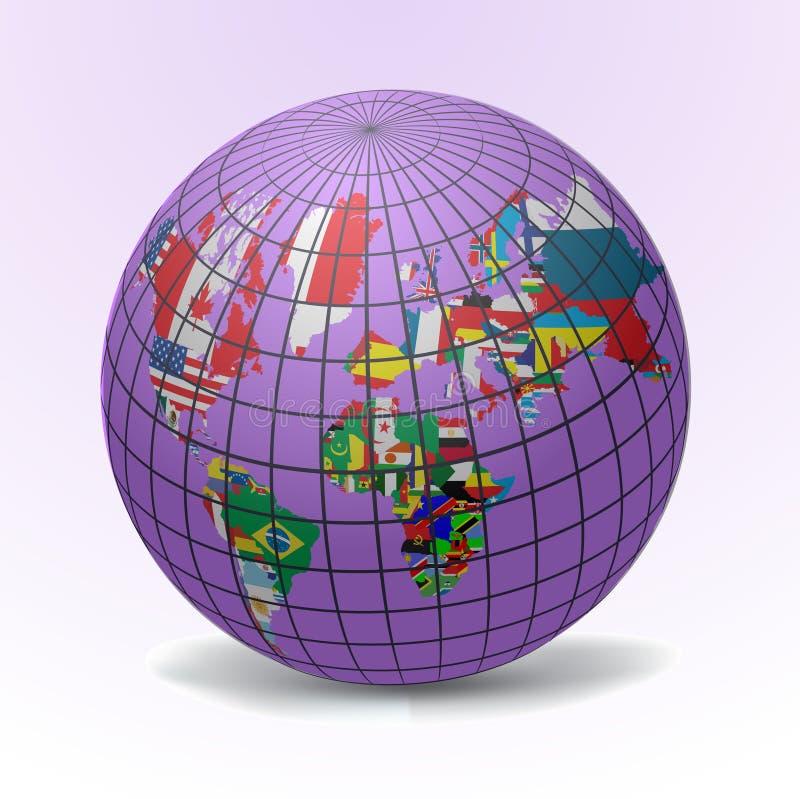 flaga kuli ziemskiej mapy świat ilustracji