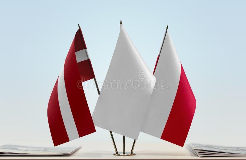 Flaga Latvia i Polska fotografia stock