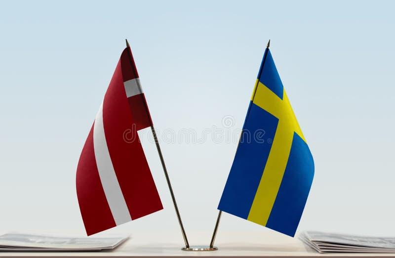 Flaga Latvia i Szwecja obrazy stock
