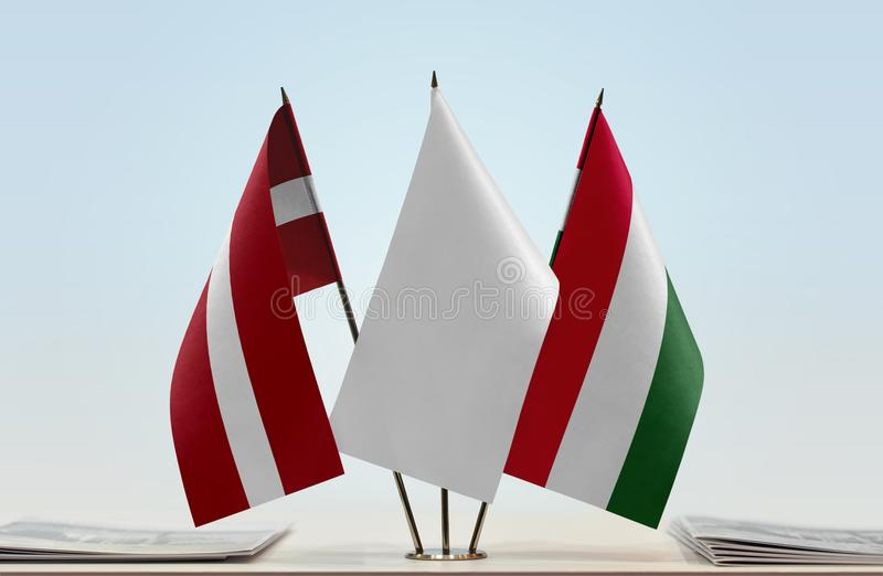 Flaga Latvia i Węgry obrazy royalty free