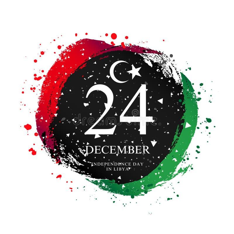 Flaga libijska w kształcie koła. 24 grudnia royalty ilustracja