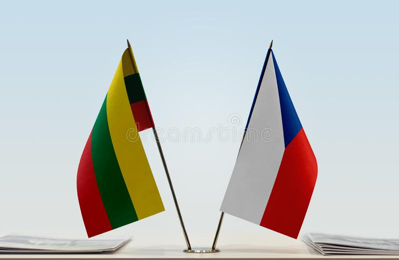 Flaga Lithuania i republika czech zdjęcie stock