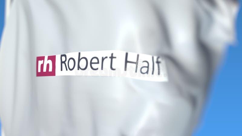 Flaga lotnicza z logo Robert Half International, zbliżenie Renderowanie w formacie 3D dla redaktorów ilustracja wektor