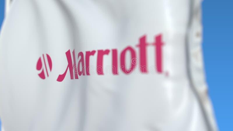 Flaga lotu z logo Marriott International, zbliżenie Renderowanie w formacie 3D dla redaktorów ilustracji