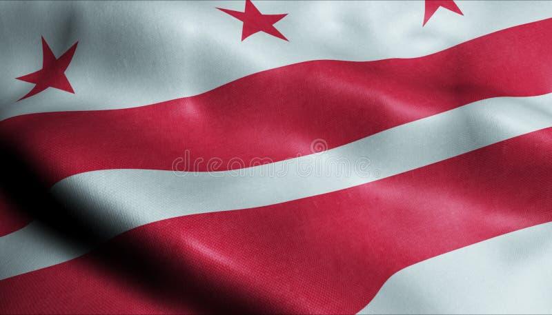 Flaga machania 3D Washington Beach City Closeup View ilustracji
