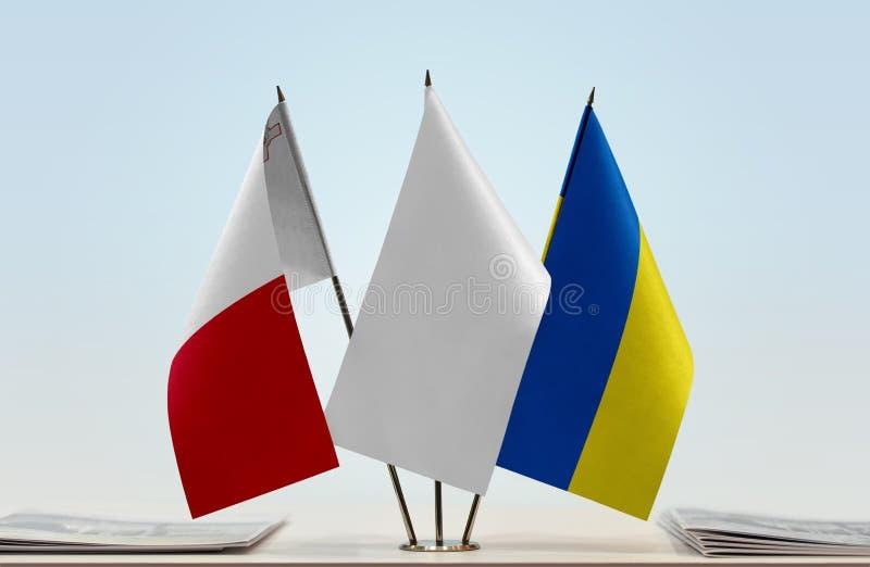 Flaga Malta i Ukraina obraz stock