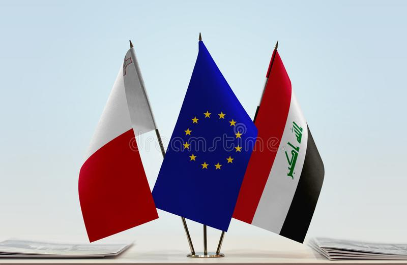 Flaga Malta UE i Irak zdjęcia stock