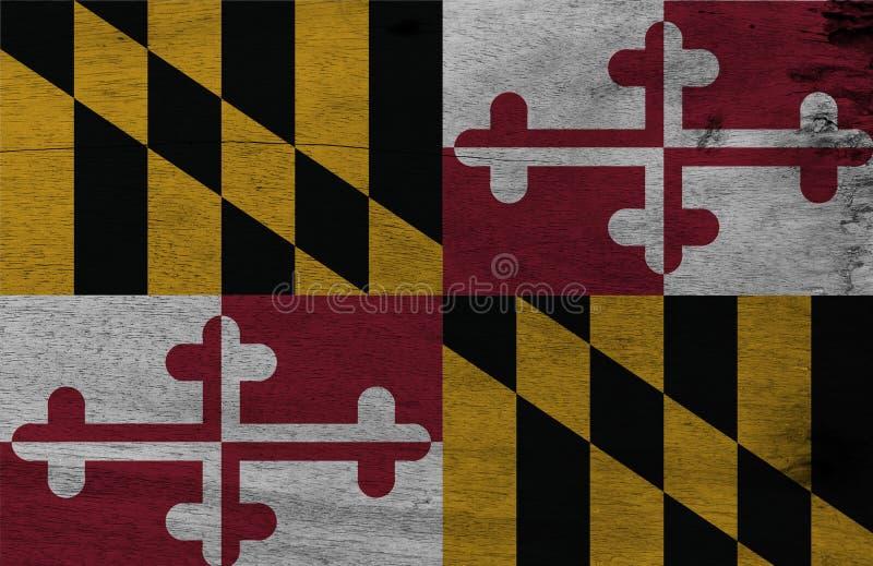 Flaga Maryland na drewnianym półkowym tle Grunge Maryland flagi tekstura stany Ameryka obrazy stock