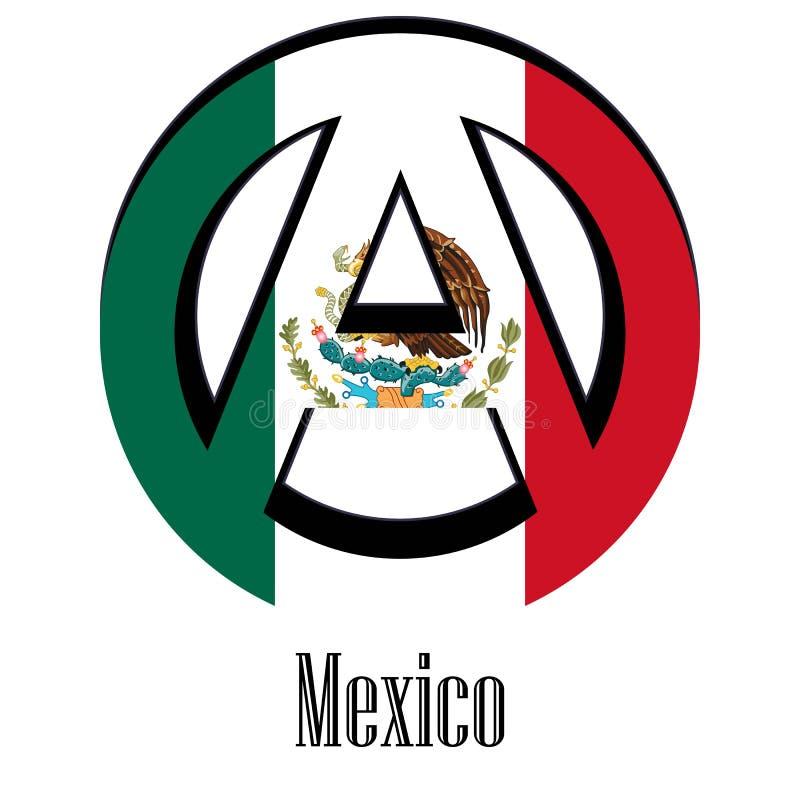 Flaga Meksyk świat w postaci znaka anarchia royalty ilustracja
