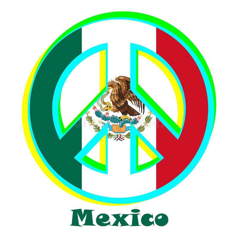 Flaga Meksyk jako znak pacyfizm ilustracja wektor