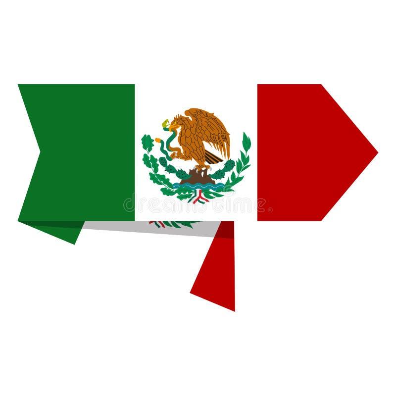 Flaga Meksyk na etykietce ilustracja wektor