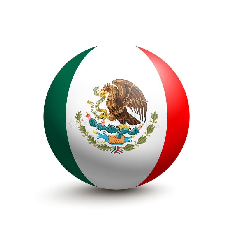 Flaga Meksyk w postaci piłki ilustracja wektor