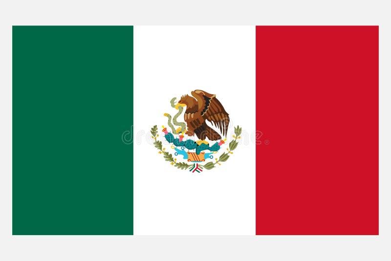 flaga Meksyku Realistyczna Meksyk flaga odizolowywająca na lekkim tle ilustracji