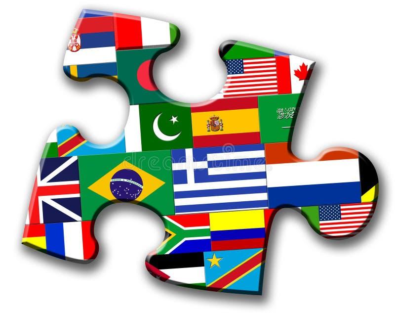 flaga międzynarodowa kawałka łamigłówka ilustracji