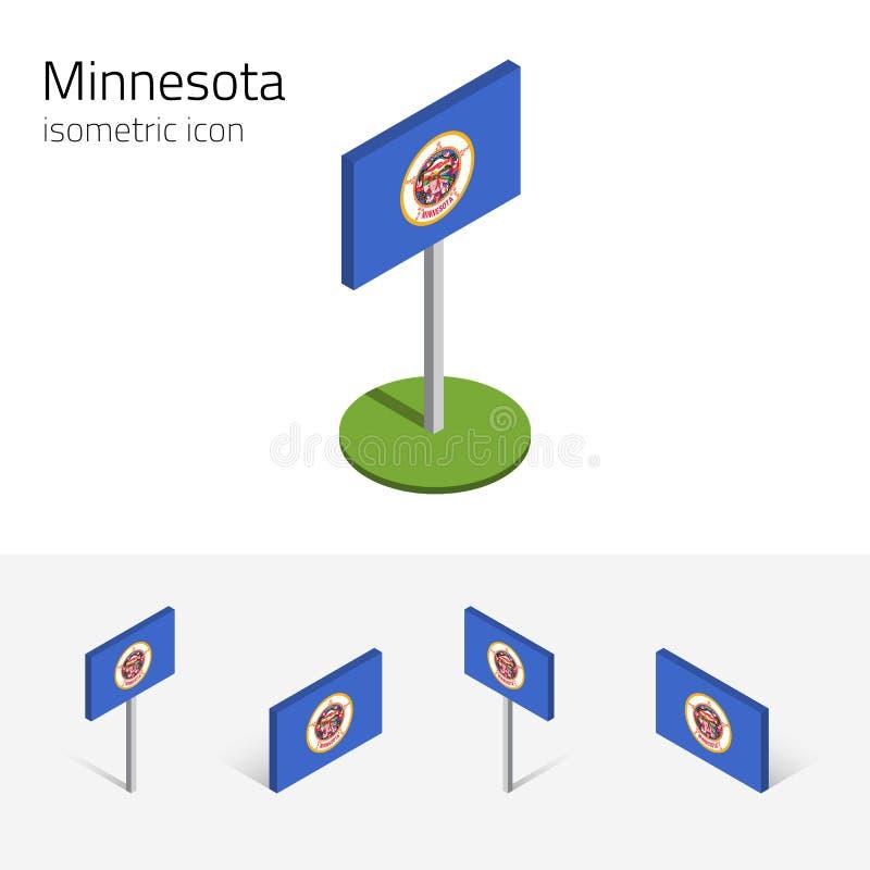 Flaga Minnestoa usa, wektoru 3D isometric płaskie ikony ilustracji