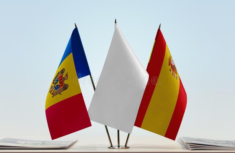 Flaga Moldova i Hiszpania obraz royalty free