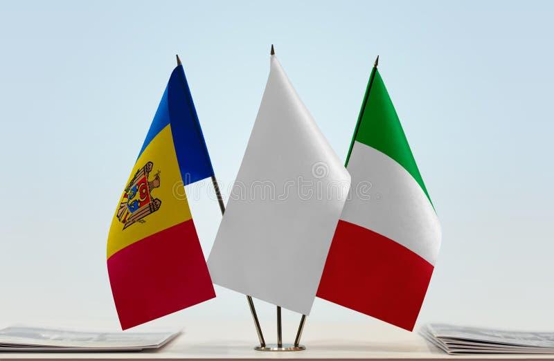 Flaga Moldova i Włochy zdjęcia stock