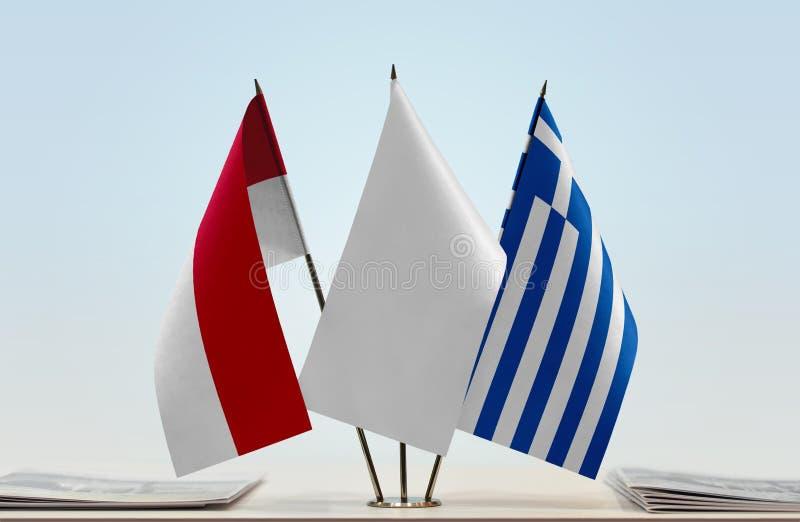 Flaga Monaco i Grecja zdjęcie stock