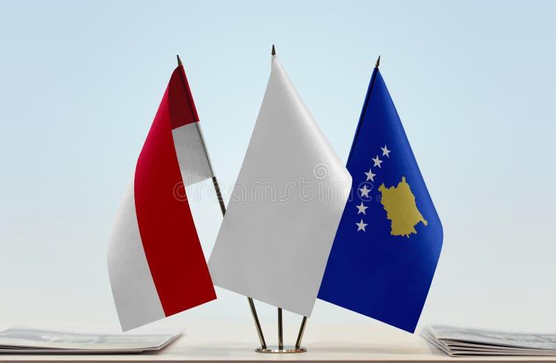 Flaga Monaco i Kosowo obrazy stock