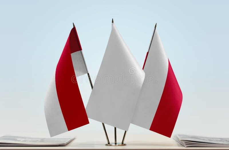 Flaga Monaco i Polska zdjęcia royalty free