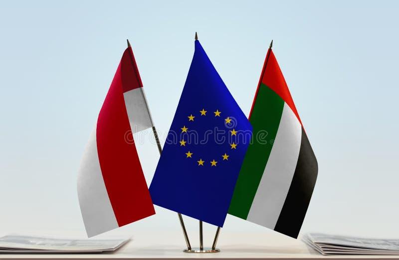 Flaga Monaco UAE i UE zdjęcie royalty free