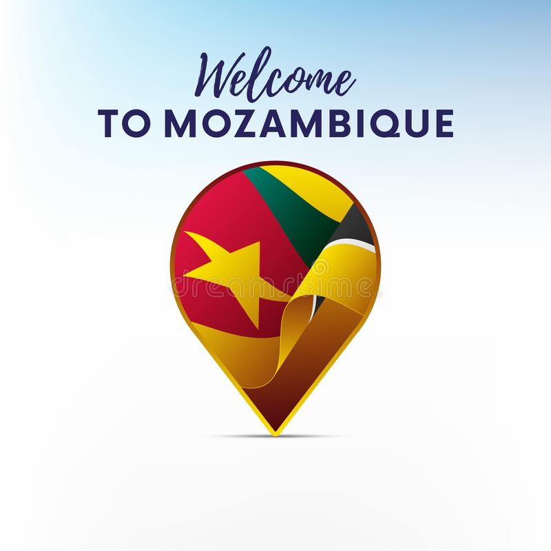 Flaga Mozambik w kształcie mapa markier lub pointer Powitanie Mozambik również zwrócić corel ilustracji wektora royalty ilustracja