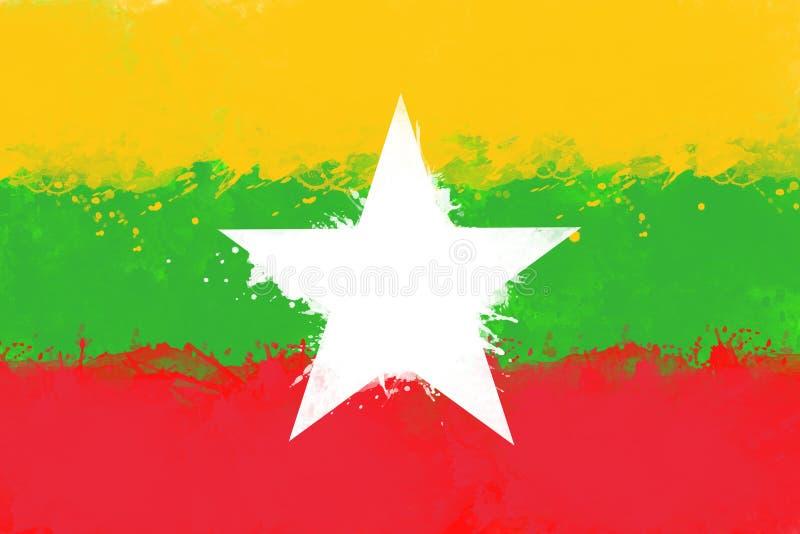 Flaga Myanmar akwareli farby muśnięciem, grunge styl ilustracja wektor