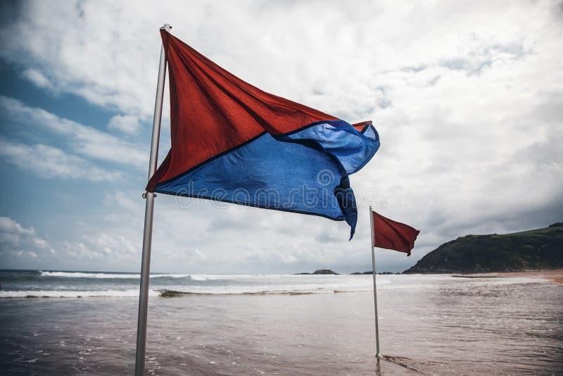 Flaga na pla?y zdjęcia royalty free
