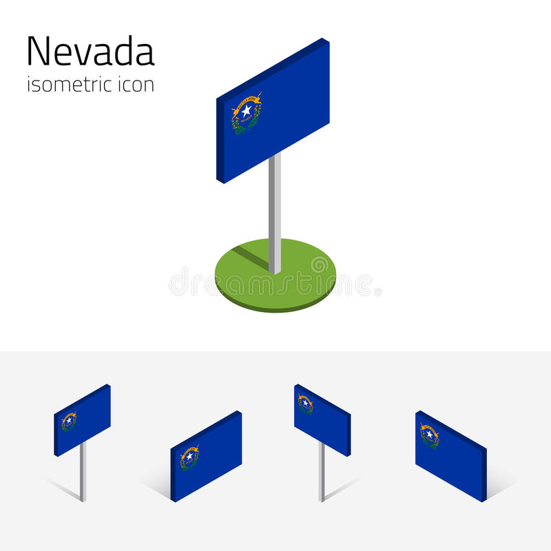 Flaga Nevada usa, wektoru 3D isometric płaskie ikony ilustracji