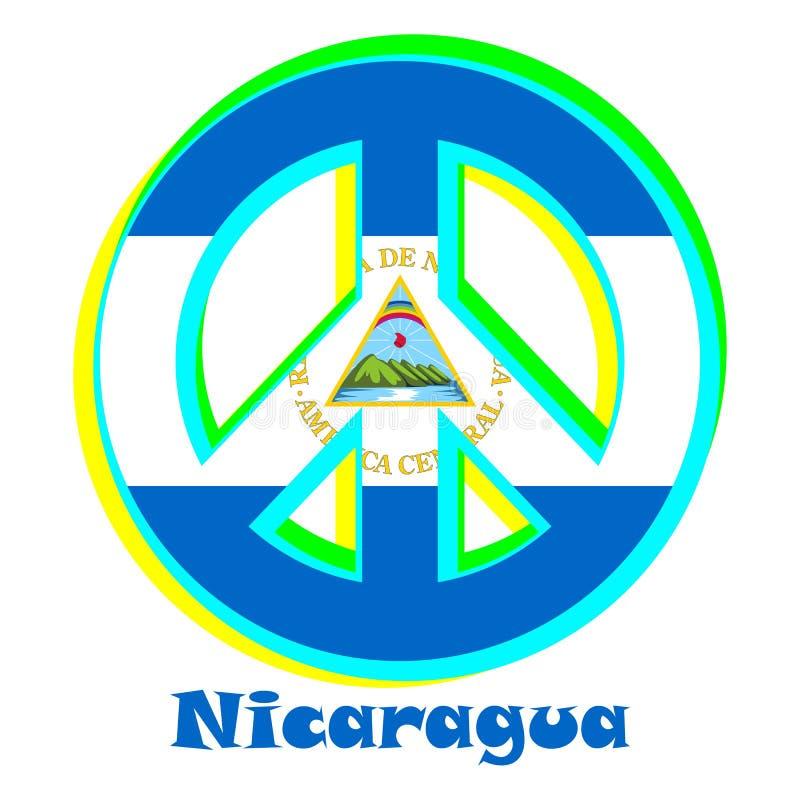 Flaga Nikaragua jako znak pacyfizm ilustracja wektor