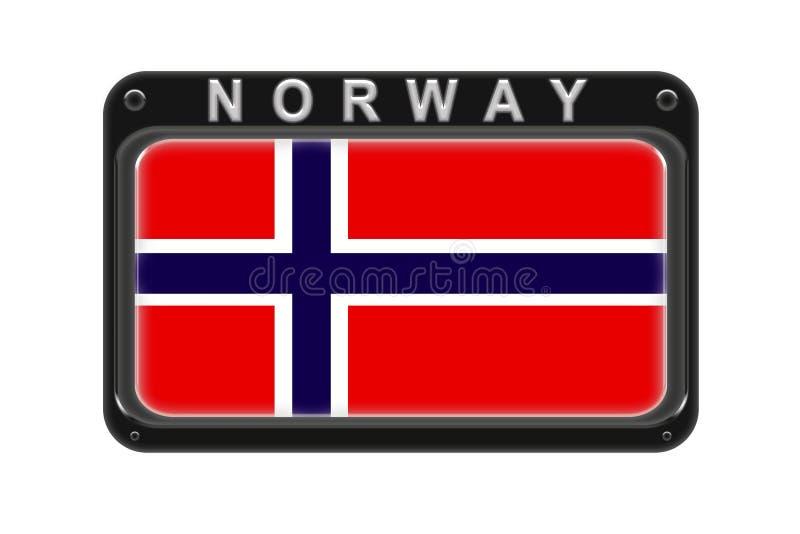 Flaga Norwegia w ramie z nitami na białym tle royalty ilustracja
