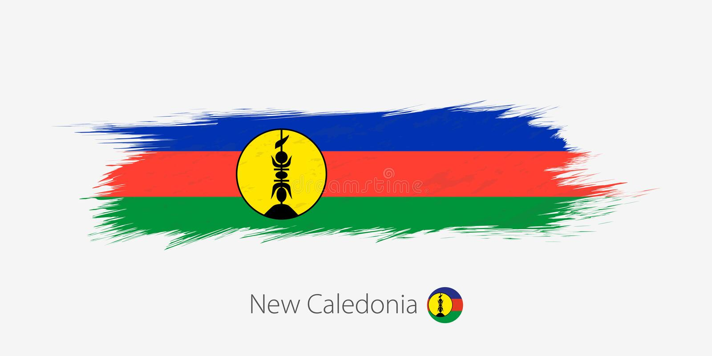 Flaga Nowy Caledonia, grunge abstrakta muśnięcia uderzenie na szarym tle ilustracji