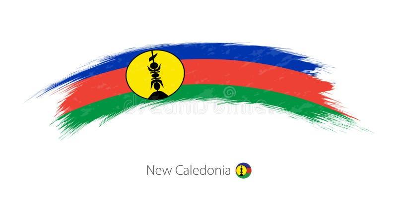 Flaga Nowy Caledonia w zaokrąglonym grunge muśnięcia uderzeniu ilustracja wektor