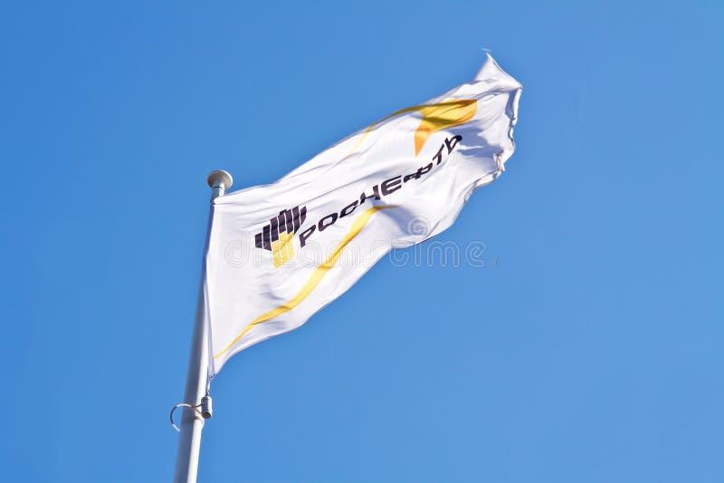 Flaga olejkarska firma Rosneft zdjęcie stock