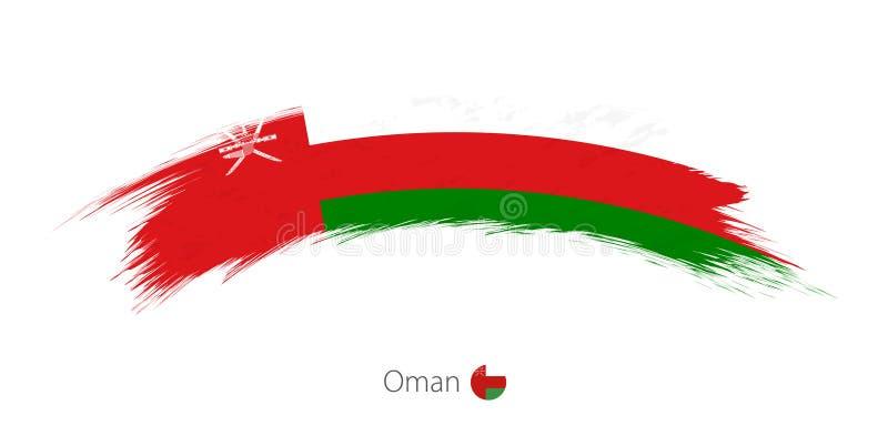 Flaga Oman w zaokrąglonym grunge muśnięcia uderzeniu ilustracja wektor