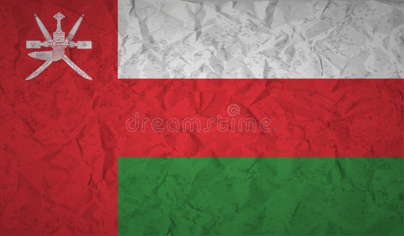 Flaga Oman z skutkiem zmięty papier i grunge ilustracja wektor