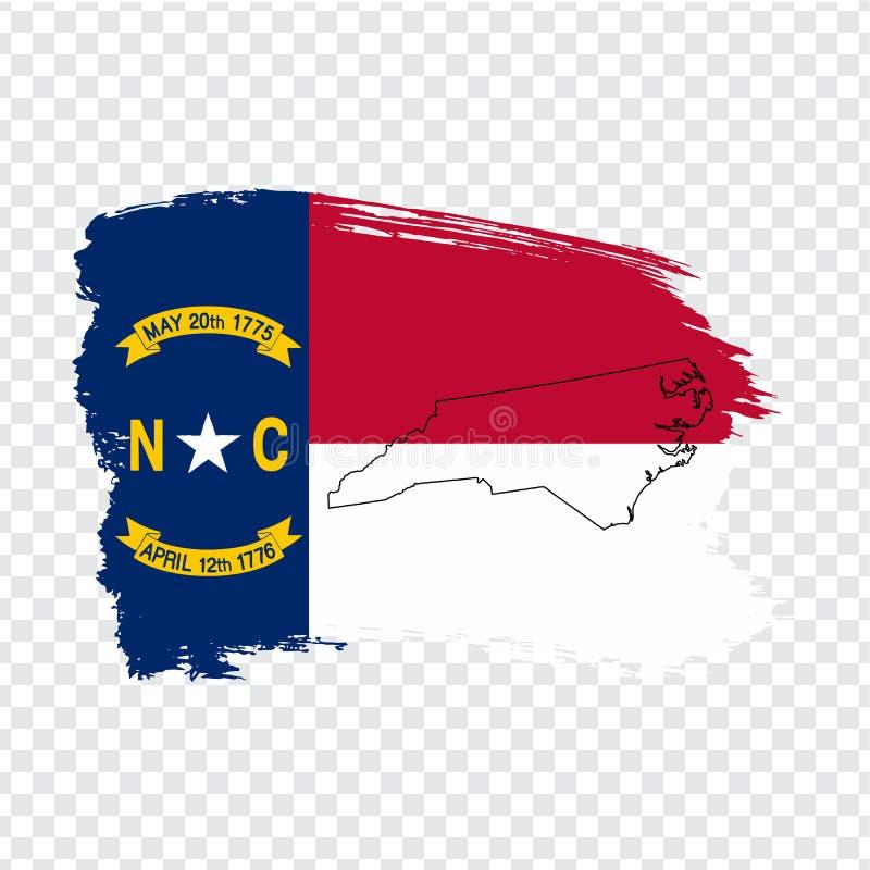 Flaga Pólnocna Karolina od muśnięć uderzeń Pólnocna Karolina i Pustej mapy ameryki stany zjednoczone Wysokiej jakości mapa Północ royalty ilustracja