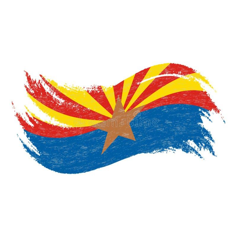 Flaga Państowowa Arizona, Projektująca Używać muśnięć uderzenia Odizolowywających Na Białym tle również zwrócić corel ilustracji  ilustracja wektor