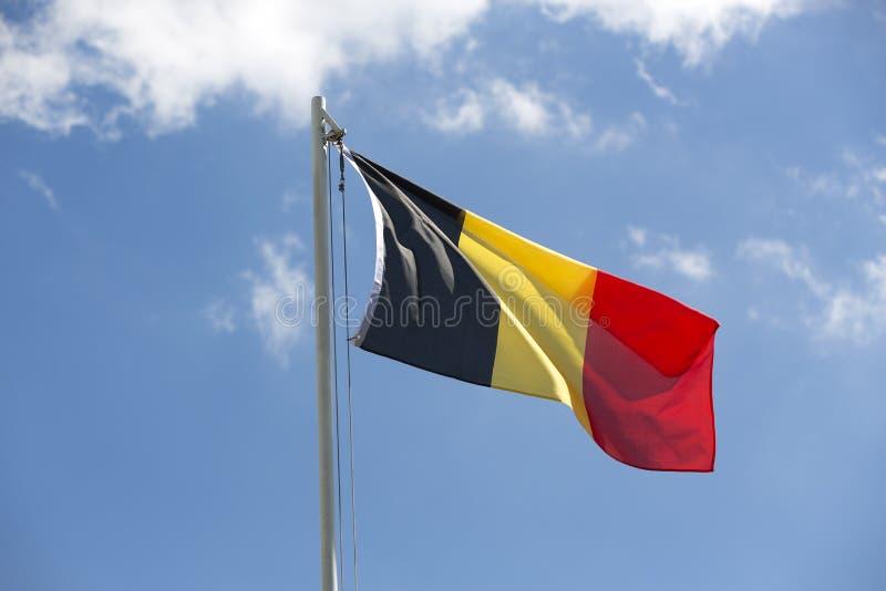 Flaga państowowa Belgia na flagpole obraz royalty free