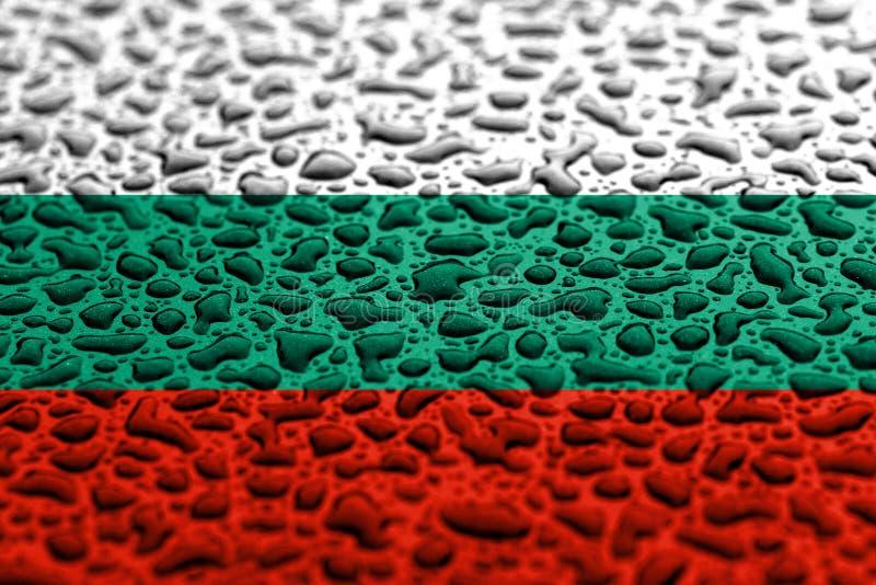 Flaga państowowa Bułgaria zrobił wodne krople T?o prognozy poj?cie ilustracji