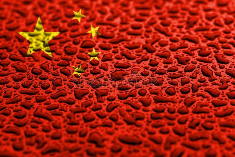 Flaga państowowa Chiny zrobił wodne krople T?o prognozy poj?cie ilustracji
