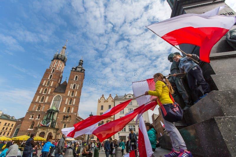 Flaga Państowowa dzień republika świętująca między wakacjami Polska (aktem 20 2004 Feb) obraz royalty free